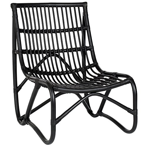 Upholstered Wicker Lounge Chair - Safavieh Home Collection Shenandoah Black Chair and Ottoman