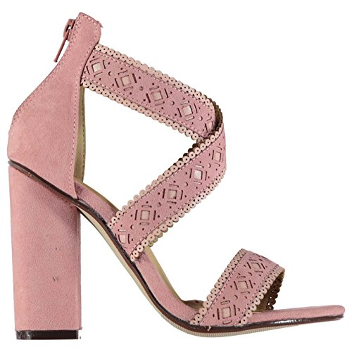 Rock and Rags Womens Lazer Cut Out Sandals Block Heeled Shoes Zip Textile Pink 3CEWT9O4