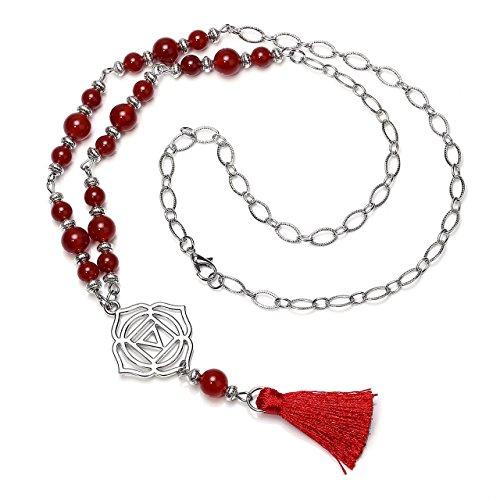 CrystalTears 7 Chakra Boho Tassel Necklace Natural Semi Precious Stones Healing Crystal Beads Reiki Balancing, Red (Red Carnelian Pendant)