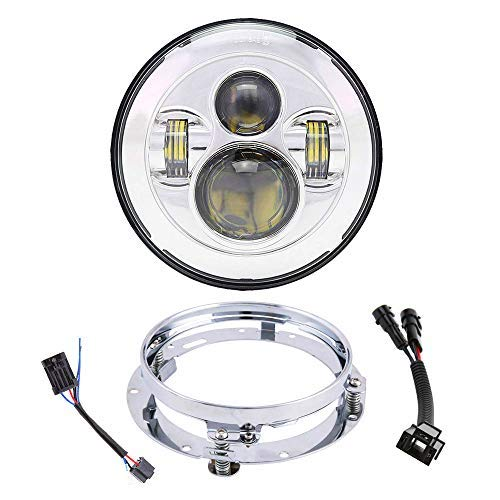 7 Inch LED Headlight With Mounting Bracket+H4-H9/H11 Wire Harness For Street Glide Road King Road Glide Electra Glide Fat Boy Ultra Limited Motorcycle Headlamp(Chrome) -