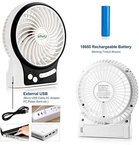 efluky Ventilador recargable4,5 Pulgadas Mini Ventilador USB 3 velocidades con Azul Decorativo de luz y luz LED Ventilador de Mesa portátil Ventilador de refrigeración (Blanco): Amazon.es: Electrónica