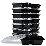 KICHEIF Meal Prep Containers, [15pack][34oz] 2 Compartment Food Prep Containers, Food Storage Containers with Lids, Reusable Bento Box - BPA Free, Stackable/Microwave/Dishwasher/Freezer Safe
