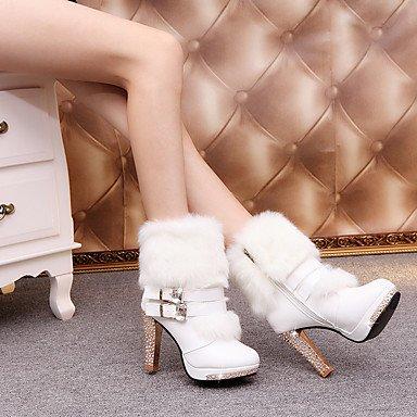 Stivaletti Scarpe Autunno donna Stivaletti 4U® Best tronchetti Casual Inverno Da PU Bianco A Nero Comoda Poliuretano stiletto white Per qYtwF7