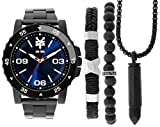 Zoo York Men's All-Black Watch Gift Pack- Leather and Bead Bracelets - Black Bullet Necklace