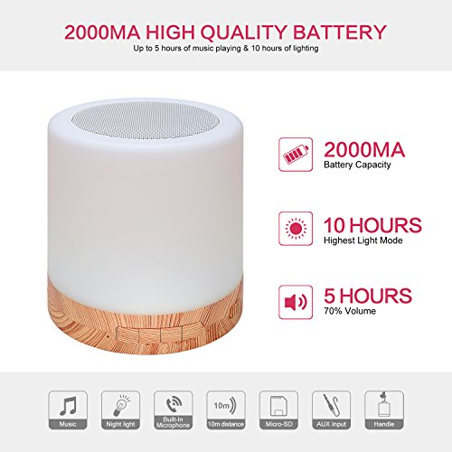 Table Lamp with Bluetooth Speaker – Perfect for Bedside Night Stand, Desk or Table – Six Color LED Light with Touch Control – Audio Speaker - Faux Wood Base by Dependable Direct (Image #2)
