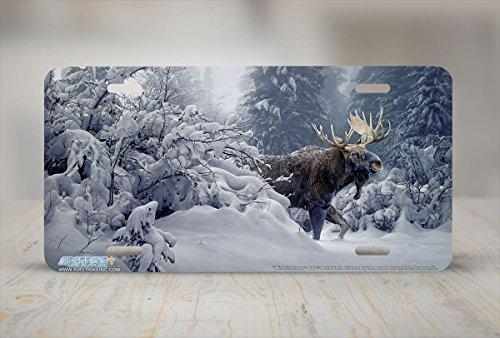 License Plate Frame for Women Winters Shroud Moose License Plate Holders