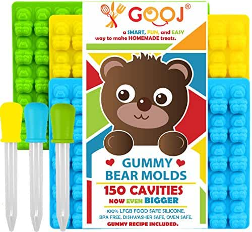 Jumbo 150 individual total pieces Gummy Bear Molds Silicone 3 Pack + 3 Droppers – LFGB, FDA Gummy Bears molds, non BPA Candy Molds . (Printed recipe included)..