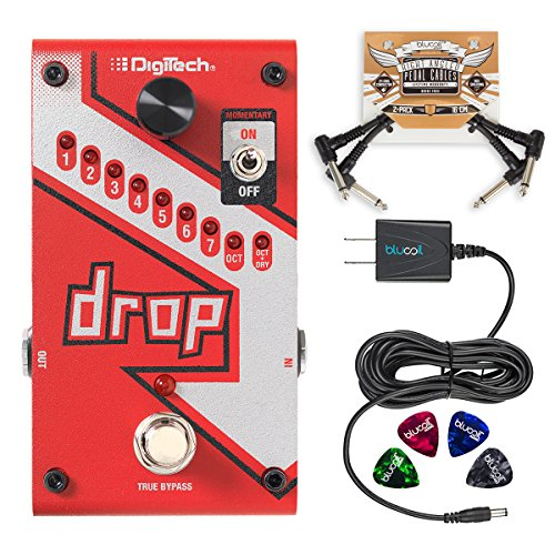 (DigiTech DROP Compact Polyphonic Drop Tune Pitch Shift Pedal with Momentary/Latch Switching and True Bypass Bundle with Blucoil 9V Slim Power Supply, 2-Pack of Patch Cables and 4-Pack of Guitar Picks)