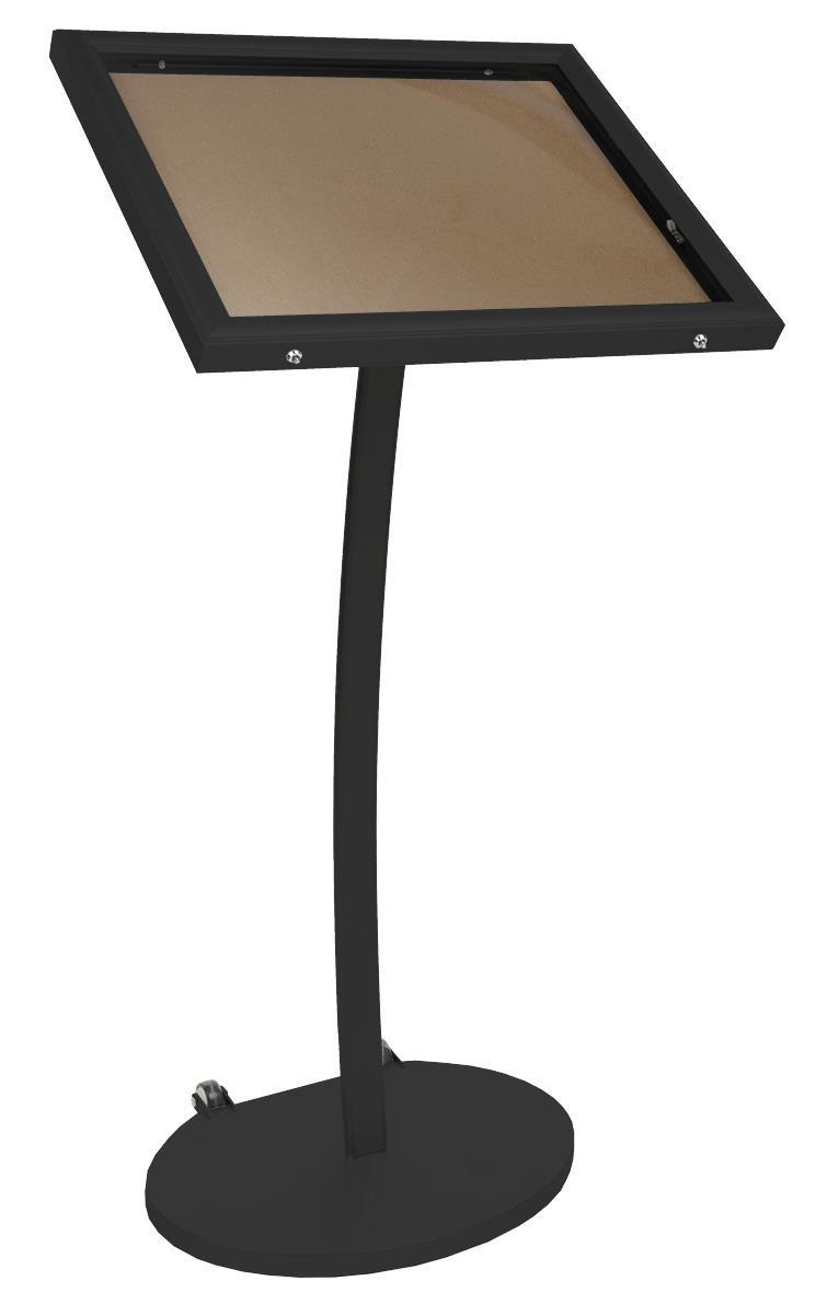Displays2go Menu Display Stand, Cork Board, Waterproof, UV Inhibitor Lens, Wheels, Black (ODCRK598BK) by Displays2go (Image #1)