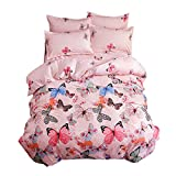 Ttmall 3-pieces Full Queen Size Microfiber Duvet Cover Set, Pink Green Brown Blue Black Butterflies Prints Animal Floral Patterns Design,Without Comforter (Full/Queen, (1Duvet Cover+2Pillowcases)#01)
