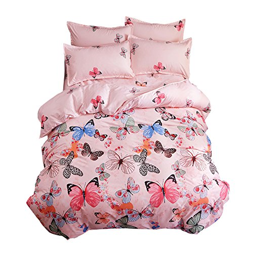 Ttmall 3-pieces Full Queen Size Microfiber Duvet Cover Set, Pink Green Brown Blue Black Butterflies Prints Animal Floral Patterns Design,Without Comforter (Full/Queen, (1Duvet Cover+2Pillowcases)#01) by TTMALL