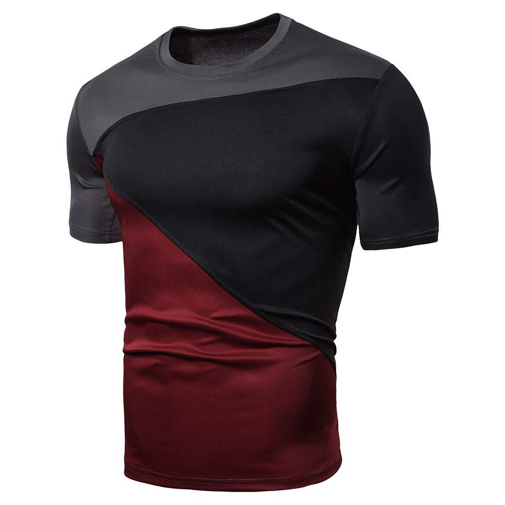 Men's Slim Fit Short Sleeved T-Shirt Stitching Color Elastic Sport Running Short T-Shirt Tops (Black, M)