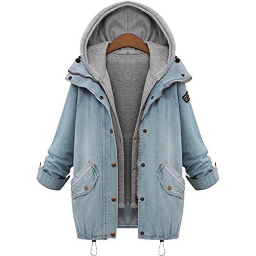 Femmes Outwear Bluestercool Capuche Parka Hiver Manteau Bleu Blousons Trench Denim Veste zwHqw5nxF