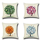 4PC Halloween Pillow Cover Fashion Linen Sofa Pad Cushions Home Decoration For Car Sofa Bed Couch (C)
