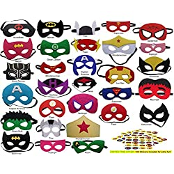 Pixie Supplies Superhero Felt Masks Avengers 100 Free Stickers 30 Pack Party Supplies Favors Kids Costume Marvel