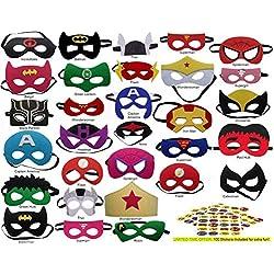 Pixie Supplies Superhero Felt Masks Avengers 100 Free Stickers 30 Pack Party Supplies Favors Kids Costume Marvel