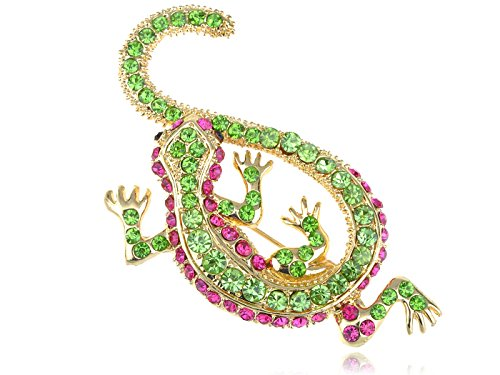 (Alilang Synthetic Peridot Synthetic Fuchsia Pink Crystal Rhinestone Golden Lizard Gecko Reptile Pin Brooch )