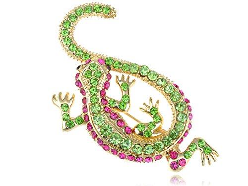 Alilang Synthetic Peridot Synthetic Fuchsia Pink Crystal Rhinestone Golden Lizard Gecko Reptile Pin - Lizard Crystal Pin