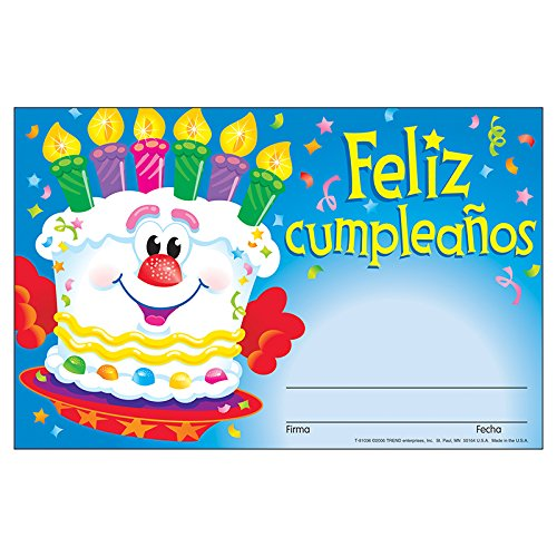 TREND enterprises, Inc. Feliz cumpleaños (SP) Recognition Awards, 30 ct