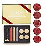 UNIQOOO Arts & Crafts Vintage Adhesive Sealing Wax Stamp Kit- Hogwarts Ministry of Magic Badge and 4 House Badges- Gold, Red, and Black Wax Sticks with Wicks- Great Gift for a Friend of Relative