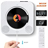 ACOSS Portable CD Player, Bluetooth Wall Mountable CD Music Player with Screen, Home Audio Boombox with Remote Control FM Radio Built-in HiFi Speakers MP3 Headphone Jack AUX Input Output, White