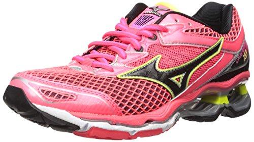 Mizuno Women's Wave Creation 18 Running Shoe, Diva Pink-Black-Safety Yellow, 6 B US