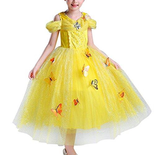 (Girls Princess Cinderella Costume Dress Party Fancy Dress Off Shoulder Dress (Yellow,)