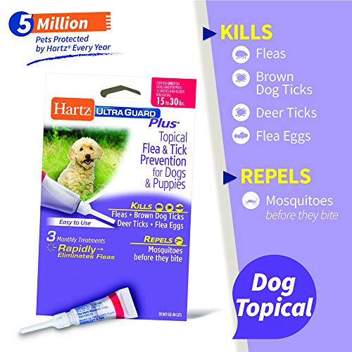 Hartz UltraGuard Plus Topical Flea & Tick Prevention for Dogs and Puppies - 15-30 lbs, 3 Monthly Treatments