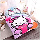 Peachy Baby Featuring Hello Kitty Bedding Sheet Set 【100% Cotton】 Single Twin Queen Full King Size【Free Express Shipping】 3 and 4 Pieces Pink Cute Girly Cartoon Animate Girly (Queen Size)