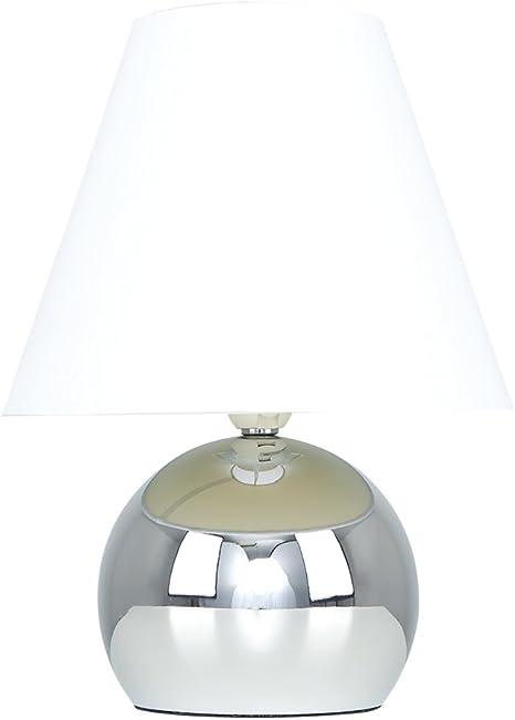 Minisun Lampe De Table Chevet Touch Moderne Variateur Touch Intégré Pied Boule Chromé Et Abat Jour Conique En Tissu Blanc