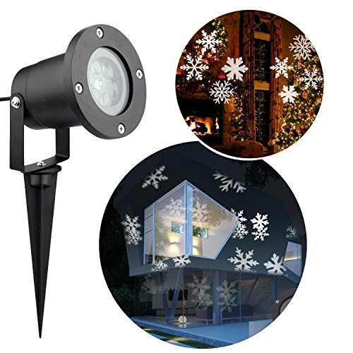 Christmas Snowflakes Projector Light, Messar Outdoor LED Christmas Lights Waterproof Snowflake Landscape Projector Spotlight for Garden, Lawn and Holiday Decoration