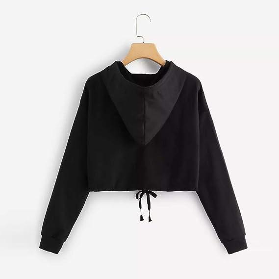 STRIR Mujer Sudadera con capucha 2018 Otoño Nuevo Moda Negro Costura Algodón Manga Larga Blusa Tops: Amazon.es: Ropa y accesorios
