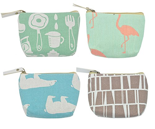 iSuperb Pack of 4 Canvas Coin Purse ()