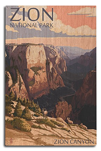 (Lantern Press Zion National Park, Utah - Zion Canyon Sunset (10x15 Wood Wall Sign, Wall Decor Ready to Hang))
