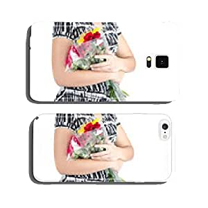 Woman hand holding flower cell phone cover case Samsung S5