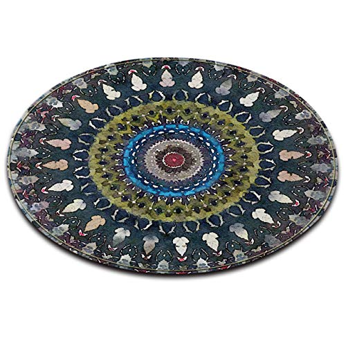 LB Watercolor Round Circle Rugs for Kids,Mandala Style Hippie Boho Area Rugs for Living Dining Room Non-Slip Memory Foam Flannel Surface Bedroom Carpet,4