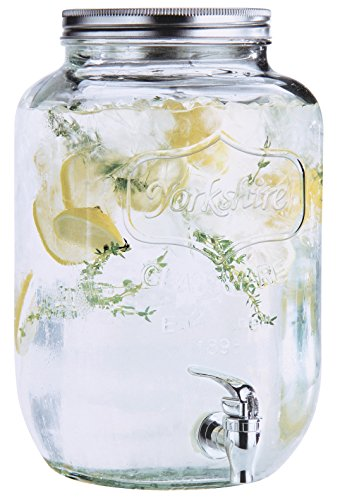 Estilo 2 gallon Glass Single Mason Jar Beverage Drink Dispenser With Leak Free Spigot, Clear (Large Beverage Glass Dispenser)