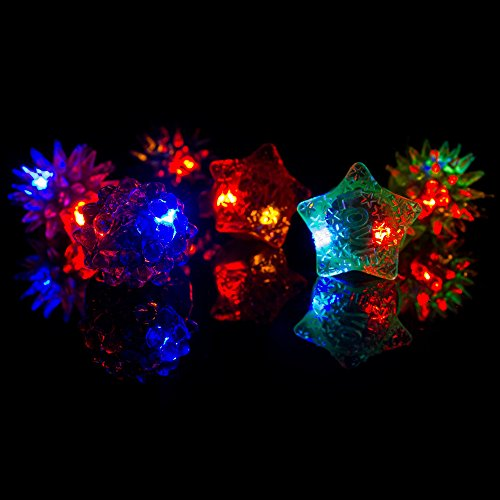 Fun Central AC809 96 Counts LED Light up Flashing, Blinky Jelly Rings,Assorted Styles and Colors - Kids Party Supply and Toys Birthday Party Favors, Giveaways, Goodie Bag Fillers, Gifts, Prizes by Fun Central (Image #2)