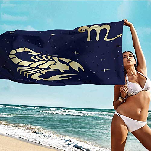 Bath Towel Custom Zodiac Scorpio,Esoteric Future Prediction Theme Night Sky with Stars and Symbol,Indigo and Pale Yellow,This is ideal for use in bathrooms,beaches,homes and travel 32