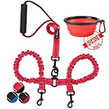 Double Dog Leash - haapaw Two Dog Leash Coupler - 2 Dog Leash Tangle Free, Stretchable from 20 to 35 Inch - Comfortable Handle Dual Dog Leash for 2 Dogs with a Free Collapsible Dog Bowl (red/Black)