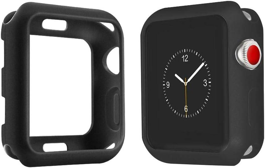 top4cus Environmental Soft Flexible TPU Anti-Scratch Lightweight Protective 38mm Iwatch Case Compatible Apple Watch Series 5 Series 4 Series 3 Series 2 Series 1 Matte Style - Black