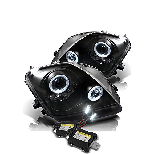 (Low Beam 6000k Slim Xenon HID Kit +Honda Prelude Projector Headlights LED Halo Black Housing With Clear Lens)