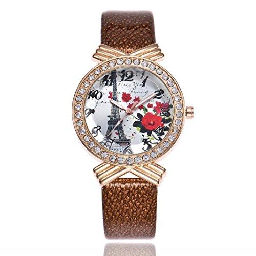 Movement Brown Dial (BCDshop Womens Wrist Watch Paris Eiffel Tower Slim Leather Band Ladies Quartz Dial Arabic Numerals Crystal Watch (brown))