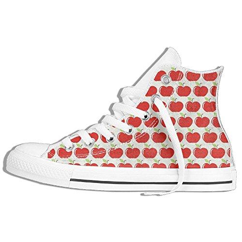 Baskets Montantes Classiques Chaussures De Toile Anti-dérapant Pomme Casual Marchant Pour Hommes Femmes Blanc