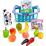 18 Inch Doll Sized Grocery Shopping Basket & Food Set by Sophia's | 14 Piece Grocery Set for Dolls
