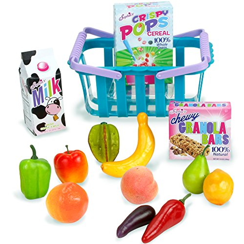 14 Reg Piece (18 Inch Doll Sized Grocery Shopping Basket & Food Set by Sophia's | 14 Piece Grocery Set for Dolls)