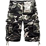 Osmyzcp Mens Cotton Relaxed Fit Camouflage Camo Cargo Shorts-Shallow army-36