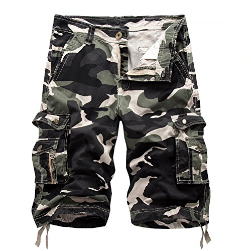 (Osmyzcp Mens Cotton Relaxed Fit Camouflage Camo Cargo Shorts-Shallow army-32)