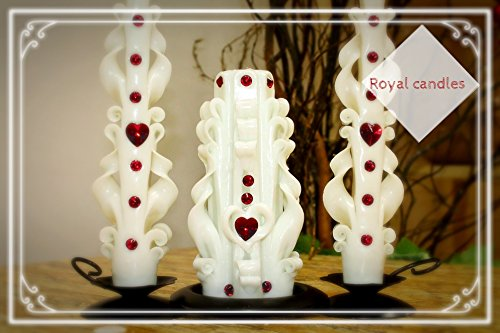 Carved candles - set - love - wedding candles - wedding decor - white candles (Candle Red Unity)