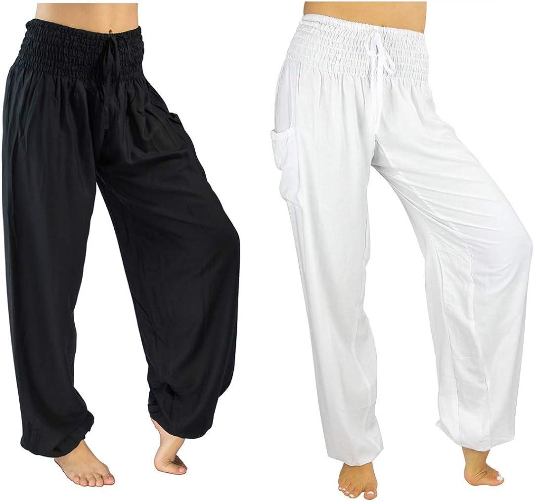 PIYOGA Womens Lounge Yoga Pants Harem Elastic High Waist with Pockets - Petite XS - 2XL